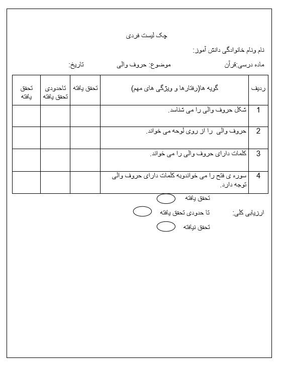 چک لیست فردی حروف والی قرآن — سوم ابتدایی