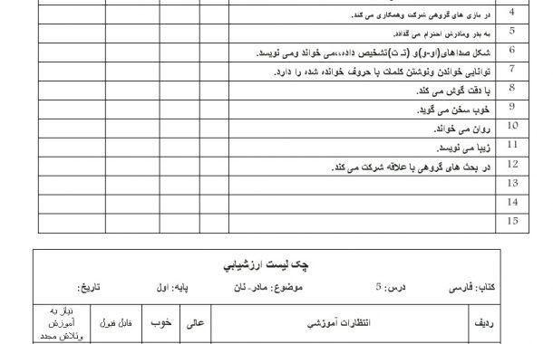 چک لیست فردی فارسی درس 4-5-6  — اول ابتدایی