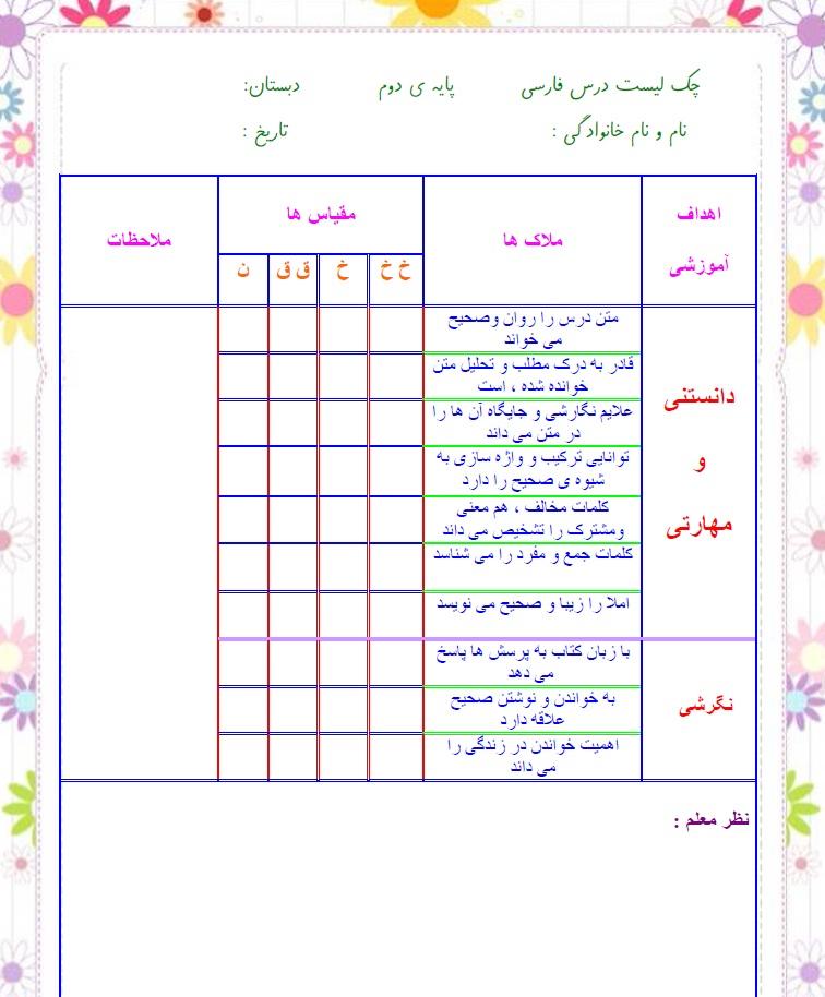 چک لیست فردی فارسی — دوم ابتدایی