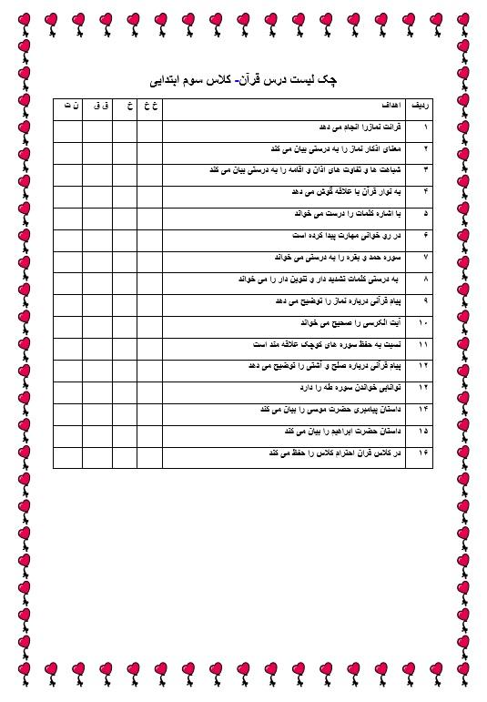 چک لیست فردی قرآن — سوم ابتدایی