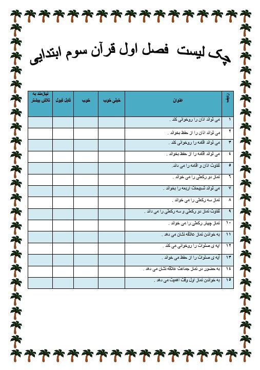 چک لیست فردی فصل اول قرآن — سوم ابتدایی