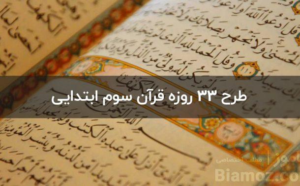 آموزش کامل طرح 33 روزه قرآن — سوم ابتدایی ( فرم + گزارش )