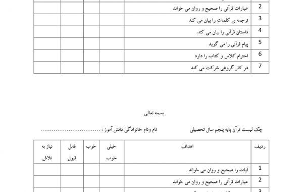 چک لیست فردی قرآن — پنجم ابتدایی